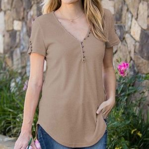 Taupe V Neck Button Henley Shortsleeve Top